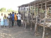 An enclosure for goats that was assembled by the community.