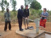 Bore hole and water pump.