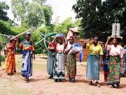 Treadle Pumps being distributed to the head women of Malawi